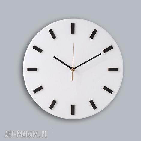 zegary bezgłośny scandi clock - zegar drewniany 30 cm, prosty,biały, zegar,