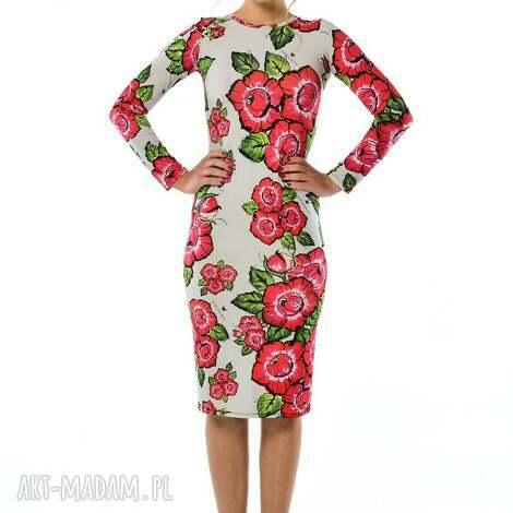 bożena - szara sukienka w kwiaty, sukienka, jersey ubrania
