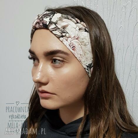 melat17 opaska na włosy cieńsza, jersey, handmade, opaska, do włosów, retro