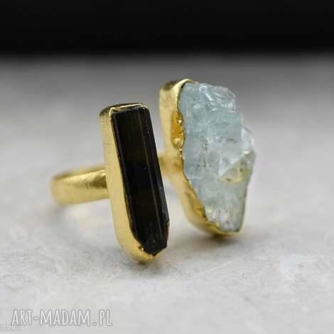 madamlili 925 srebrny pierścionek pozłacany 18-karatowym złotem, turmalin i akwamaryn