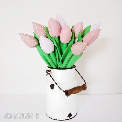 bukiet bawełnianych tulipanów, tulipany, bawełniane, szyte, kwiaty, kwiatki dom