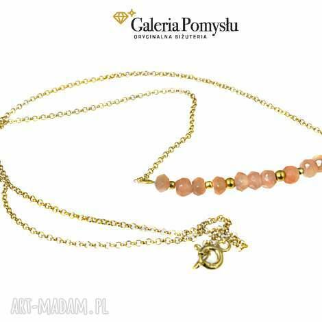 kamień słoneczny - naszyjnik, krótki, delikatny, srebro, złocone