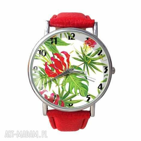 tropikalne kwiaty - skórzany zegarek z dużą tarczą - zegarek, trapikalny