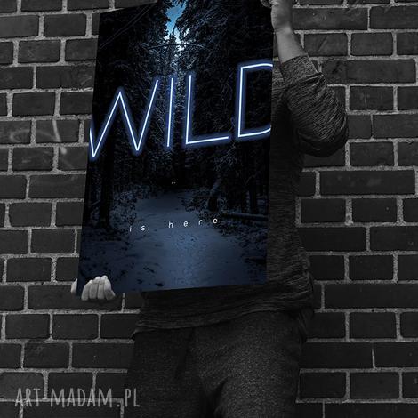 wild is here, neon, plakat, grafika, las, wild, rama