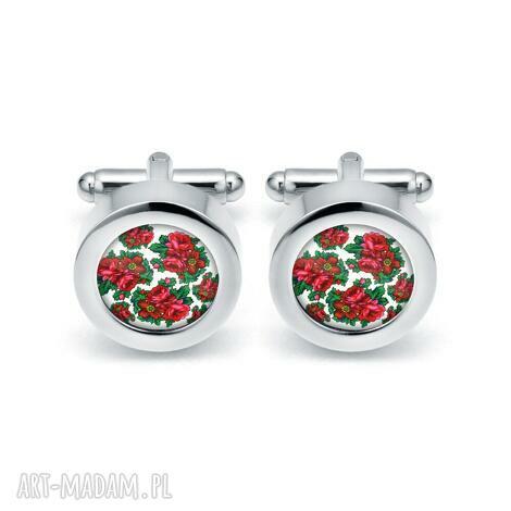 eleganckie spinki do mankietów róża, kwiaty róże bukiet, folk, prezent