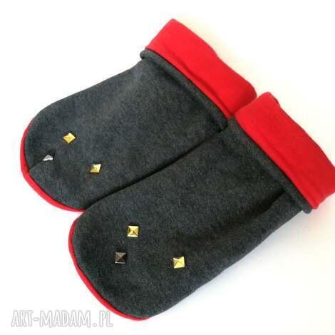 mitenki rękawiczki dzianinowe ćwieki - rękawiczki, zima, mitenki, dżety