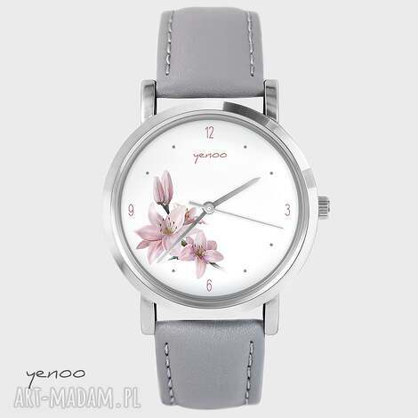 yenoo zegarek, bransoletka - różowa lilia szary, skórzany