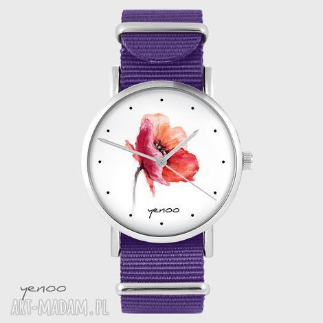 zegarek - mak fioletowy, nato, zegarek, pasek, kwiat, mak, prezent
