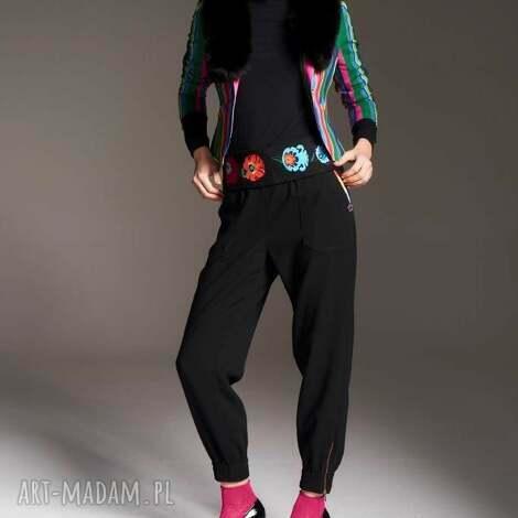 spodnie natalia 7177, z suwakami, na gumkę, spodniekieszenie