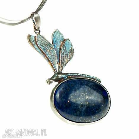 srebrna ważka z lapis lazuli naszyjnik a582 - naszyjnik srebrny, naszyjnik ważka