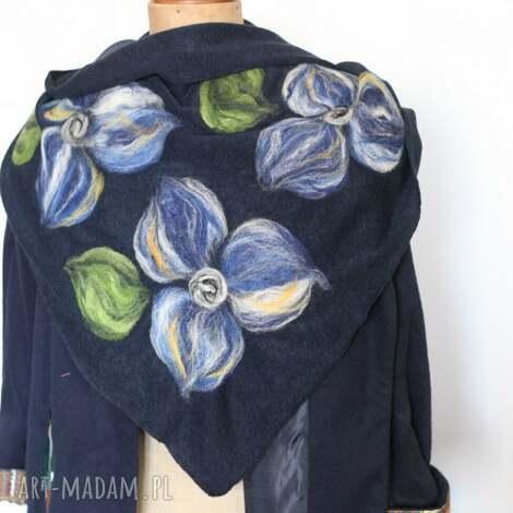 granatowa chusta handmade wełniana, chusta, apaszka, wełna, etno, kwiaty, ciepła