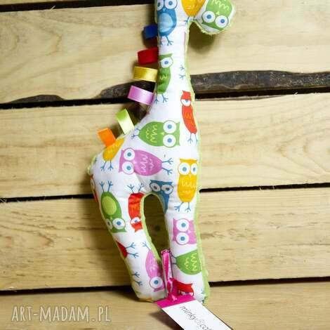 maskotki mięciutka żyrafka- minky bawełna - kolorowe sówki, zabawka, pluszak