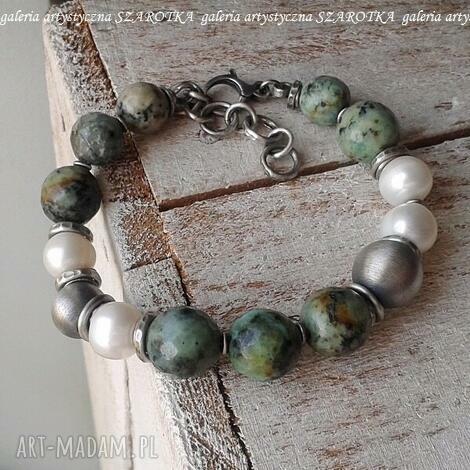 przekładaniec z perłami bransoletka naturalnych pereł, turkusu i srebra