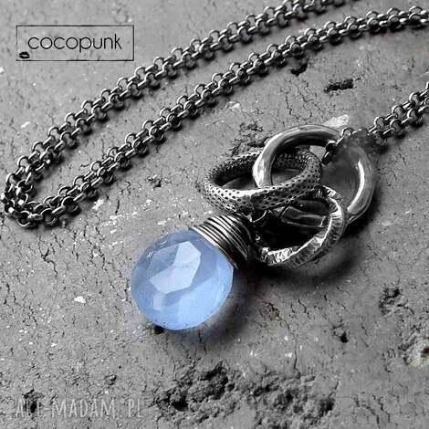 srebro i chalcedon bŁĘkitny- nowoczesny naszyjnik - niebieski, codzienny, srebrny