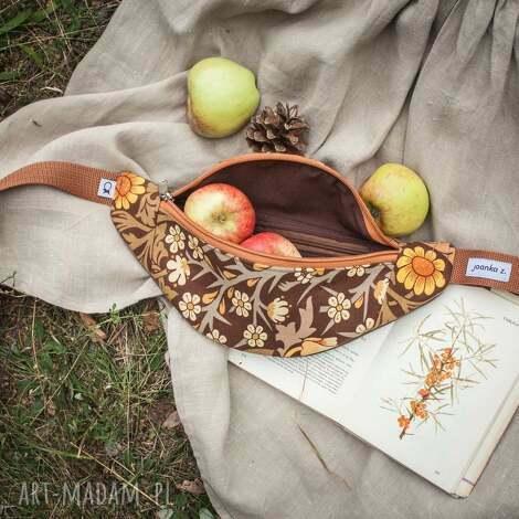 joanka z nerka mini w kwiaty - morris brąz, morris, kwiaty, jesień, rokintok, zioła