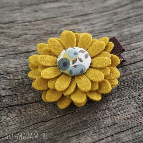spinka do włosów jesień, spinka, filc, kwiatek