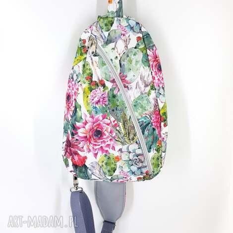 cudny plecak na jedno ramię torba w kaktusy i kwiaty, damski, crossbody