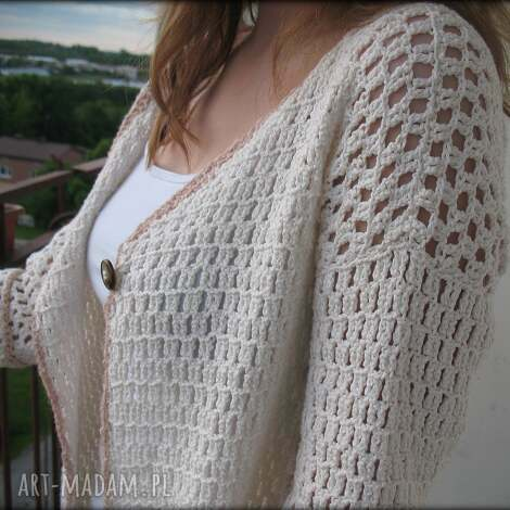 sweter, tunika, ażur, bawełna, kremowy swetry ubrania