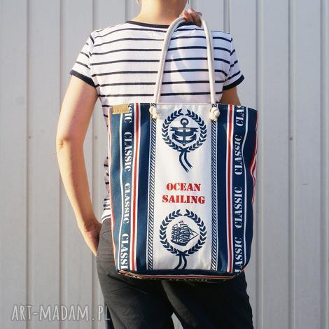 owal shopper marynarskie płótno, vegan, morze, lato, torebka, torba