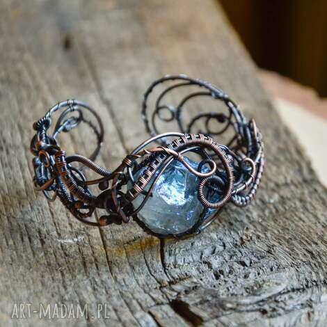 aura - bransoletka z kwarcem aura, kwarc, kwarc wire wrapping, na