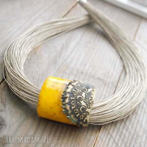naszyjnik lniany turna - naszyjnik, lniany, ceramiczny, zółty, unikatowy, prezent