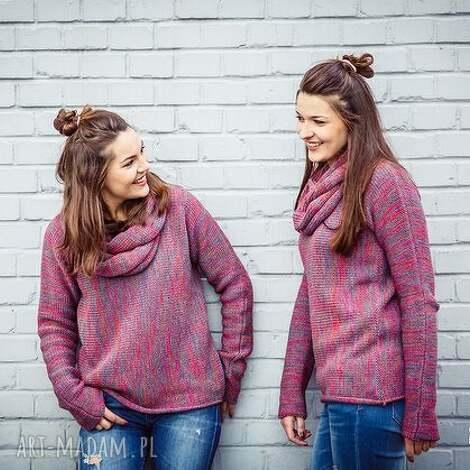 swetry gruby sweter z kominem - arthermina, zimowy, ciepły miękki