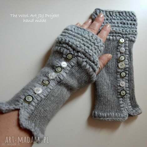 rękawiczki, mitenki - rękawiczki, mitenki, włóczkowe, dodatki, szare