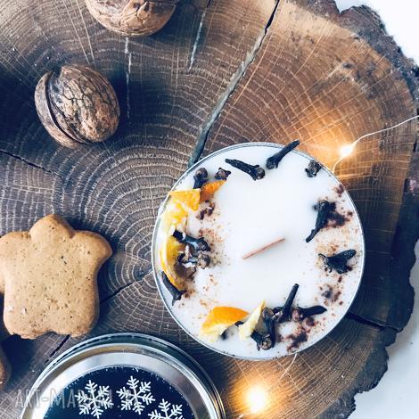 świeca sojowa świąteczna - zapach piernik z pomarańczami, sojowa