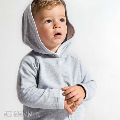 ubranka szara cienka bluza z kapturkiem i dużą kieszenią , moda dla dziecka