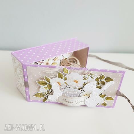 eleganckie pudełeczko - pamiątka z okazji narodzin, chrztu, urodzin, iride, box