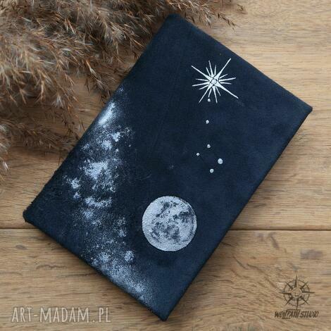 notes a6 z twardą okładką w naturalnej skórze nocne niebo - ręcznie robiony i