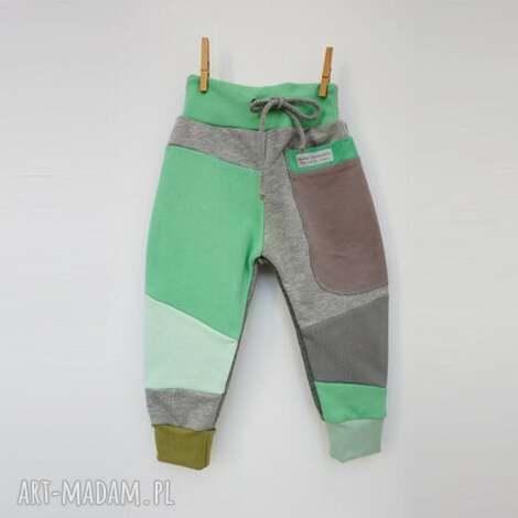 patch pants spodnie 110- 152 cm szary mięta, bawełniane spodnie
