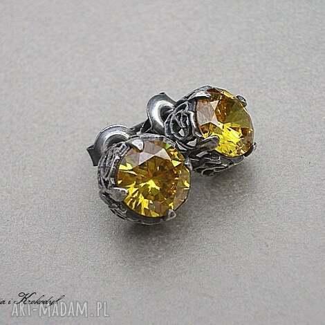 pod choinkę prezent, koronkowe - yellow, srebro, cyrkonie, sztyfty, koronkowe