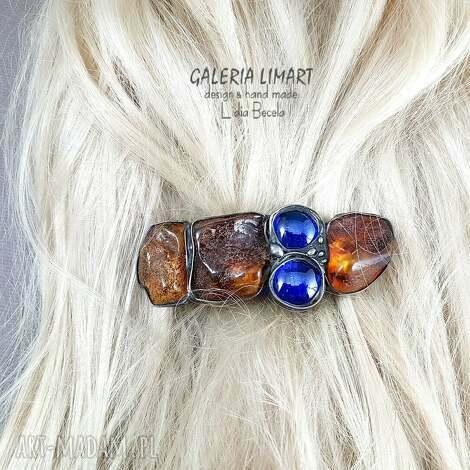 ozdoby do włosów spinka dorodne bursztyny i kobaltowe szkło
