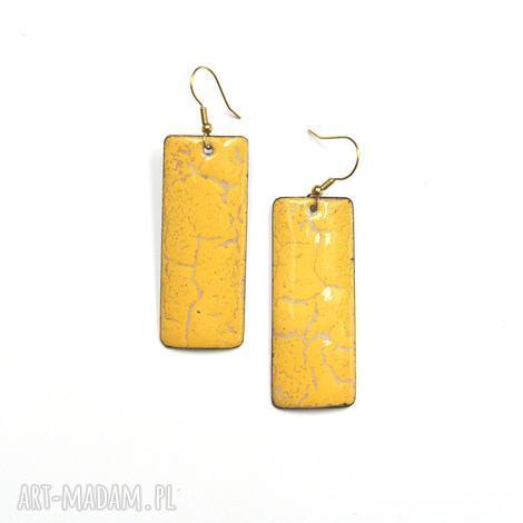kolczyki emaliowane z pięknym motywem crackle. - emalia jubilerska, niepowtarzalne