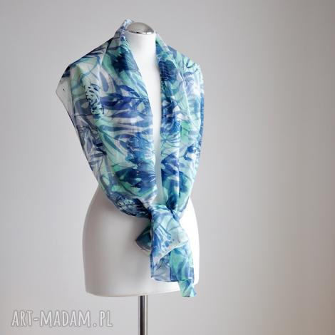 jedwabny malowany szal - turkusy i mięty - jedwab, ręcznie malowany, jedwabny szal