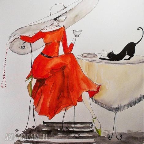 praca akwarelą i piórkiem dama w kapeluszu artystki plastyka adriany laube