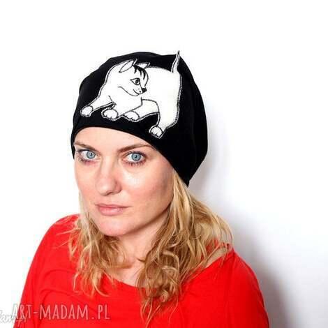 czapka dresowa damska wiosenna z kotem - czapka, dzianina, sportowa, damska, etno, boho