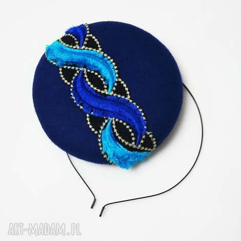 filemonka niebieska, fascynator, filc, niebieski, turkus ozdoby do włosów