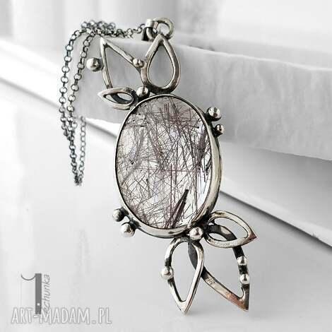 turmalinowy kwiat srebrny naszyjnik z kwarcem turmalinowym - naszyjnik, metaloplastyka