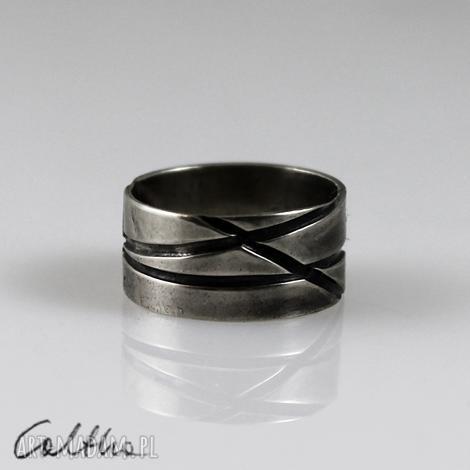 skosy - metalowa obrączka (rozm. 15) - 150426-01, pierścionel metalowy, szeroki