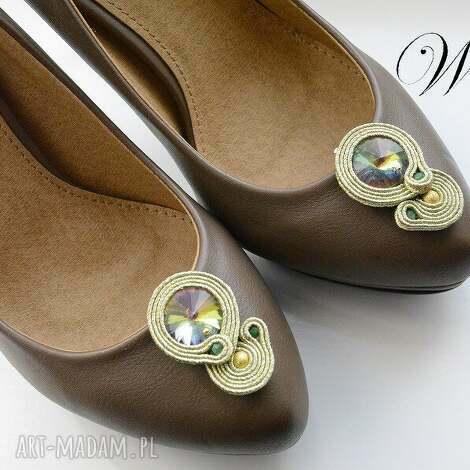 ozdoby do butów klipsy sutasz złoto zielone, sutasz, klipsy, buty
