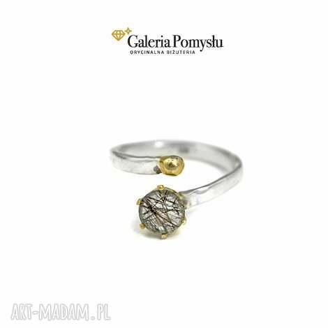 kwarc z turmalinem - pierścionek, kwarc, srebro, 925, regulowany