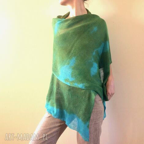 lniany szal oliwka turkus, upominek, ręcznie barwiony, natura, len