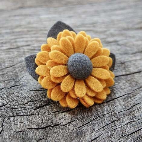broszka - broszka, przypinka, filc, kwiatek, jesień