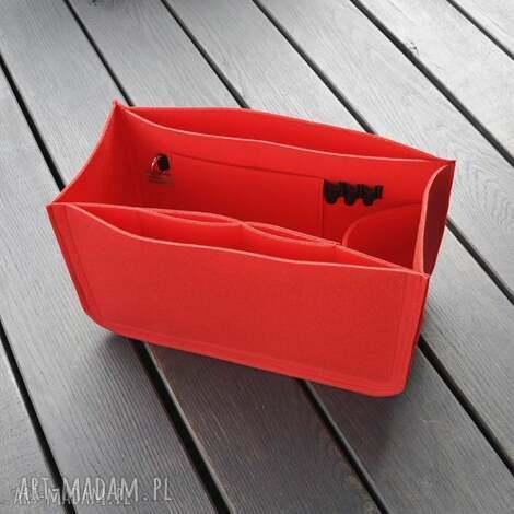 organizer do torebki xxl - czerwony filc z przegrodami, organizer, filcowy