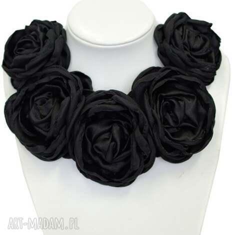 kwiatowa kolia - model 07 - czarna - kolia, broszki, kwiatowe