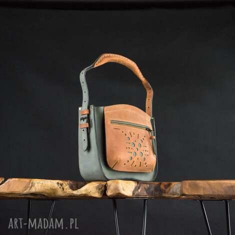 na ramię skórzana ręcznie wykonana torebka z zamknięciem zamek i wygodnym