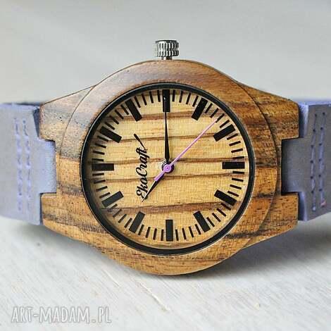 drewniany damski zegarek phaesant lawenda, drewniany, zegarek, lekki