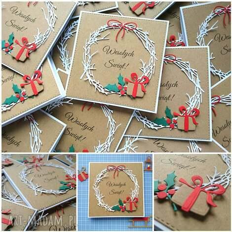kartka świąteczna z jemiołą., święta eko, prezent, wieniec
